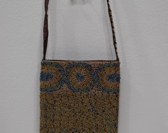 Purse Beaded Iridescent Bronze Shoulder Bag