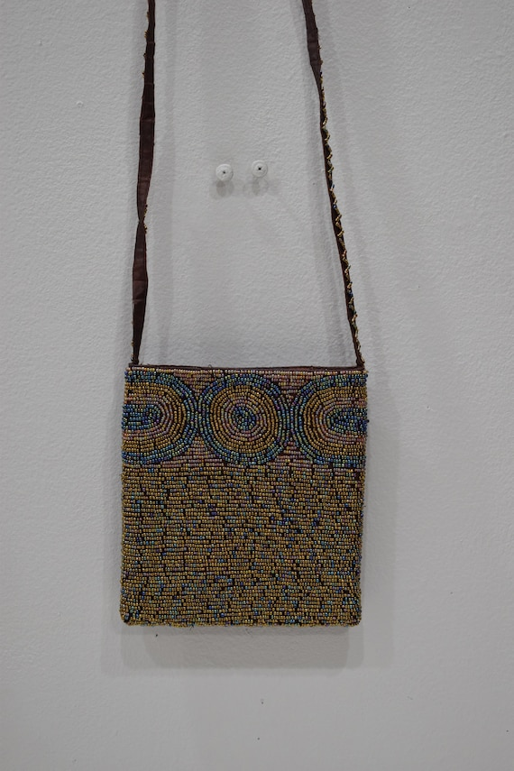 Purse Beaded Iridescent Bronze Shoulder Bag