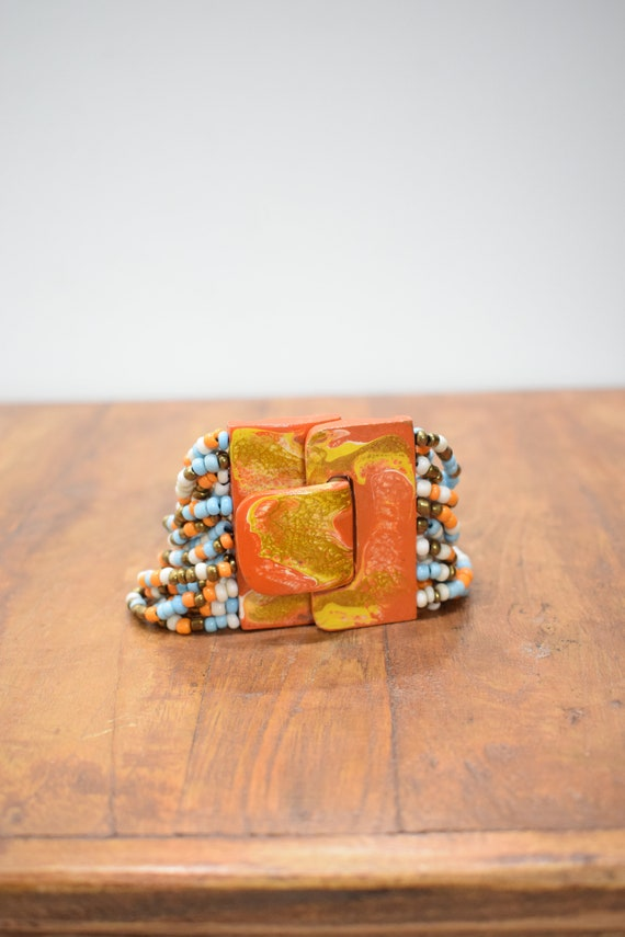 Bracelet Beaded Orange Blue Hand Painted Buckle Clasp Bracelet