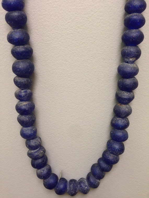 Beads African Recycled Blue Glass Handmade Handcrafted Blue Recycled Glass Strand Necklace Jewelry Necklace Beads