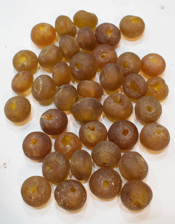 Beads African Recycled Brown Glass Round Beads 22mm - 24mm