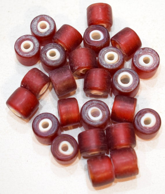 Beads African Red White Heart Glass Round Beads 10mm