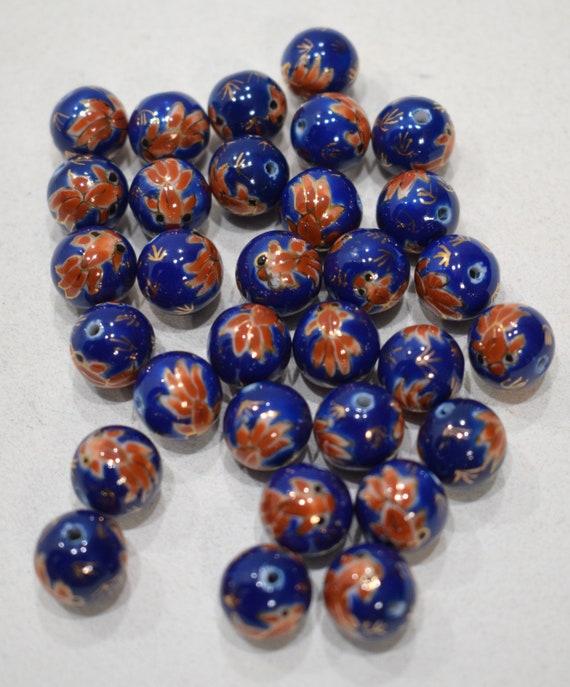 Beads Chinese Blue Goldfish Porcelain Beads 12mm