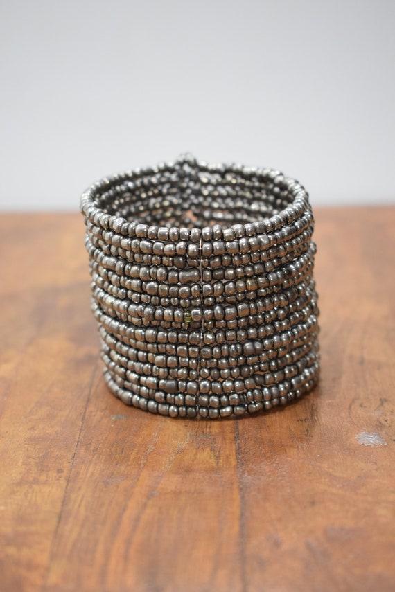 Bracelet Beaded Steel Gray Wide Wire Cuff Bracelet