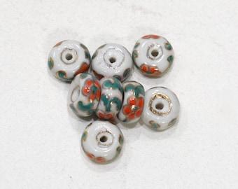Beads Chinese Porcelain Orange White Beads 8mm