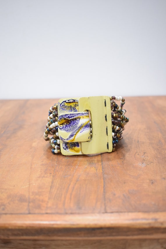 Bracelet Multi Beaded Hand Painted Buckle Clasp Bracelet
