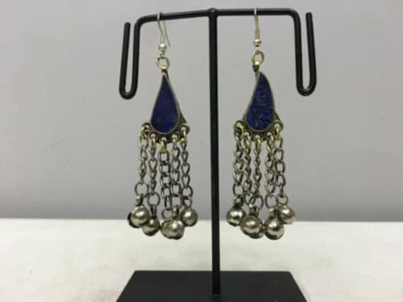 Earrings Silver Middle Eastern Lapis Dangle Silver Teardrop Earrings