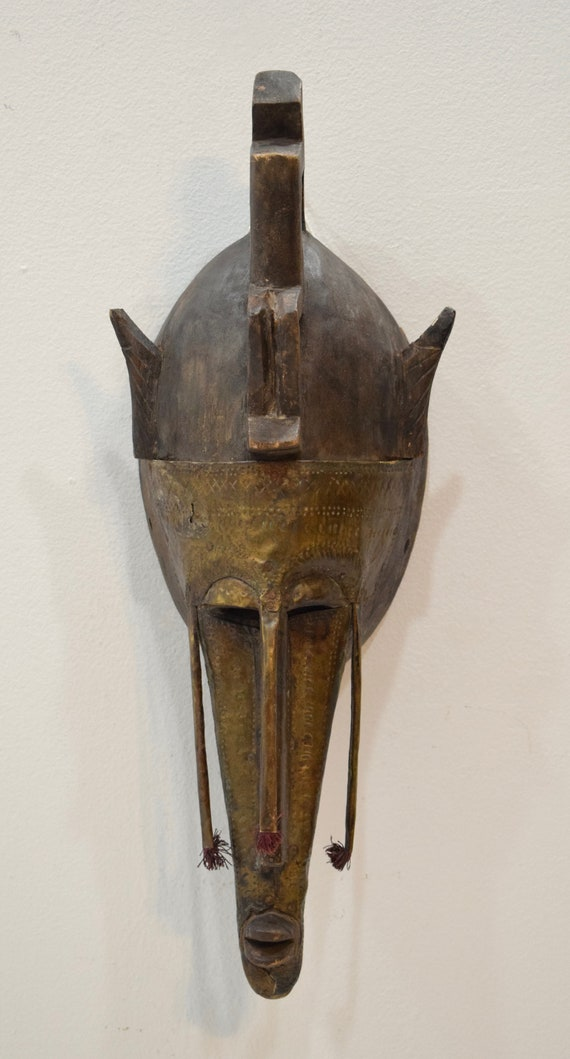 """African Mask Marka Brass Wood Burkina Faso Mali 20"""""""