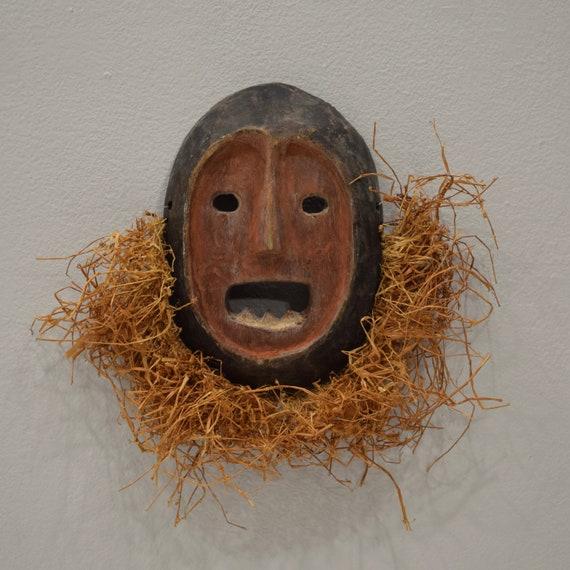 African Mask Lega Wood Raffia