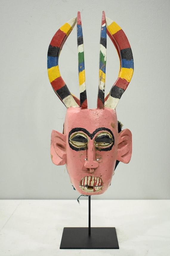 """African Mask Bozo/Bambara Marionette Pink Mask Puppet Mali 25"""""""