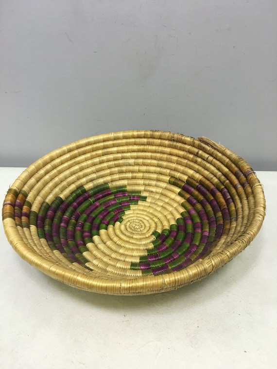 Basket African Tanzania Round Woven River Weeds Handmade Tribal Basket Reed Green Purple Decorative Food Basket Unique