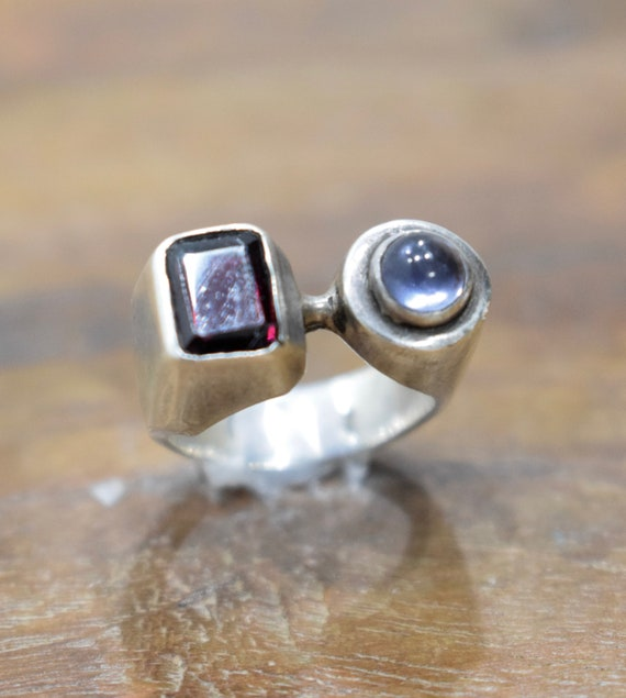 Ring Sterling Silver Garnet Amethyst Ring
