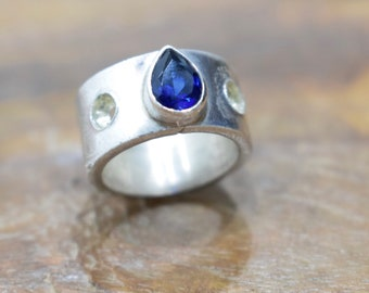 Ring Sterling Silver Blue Crystal Band Ring