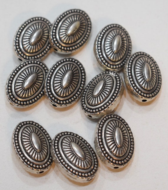 Beads Silver Etched Oval Vintage Beads 25mm