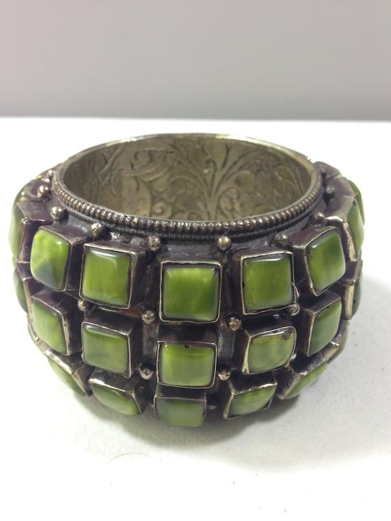 Tibetan Bracelet Round Embellished Silver Large Green Onyx Bracelet Handmade Jewelry Tribal  Statement Unique Bracelet