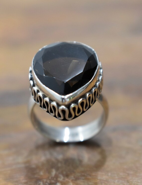 Ring Sterling Silver Smokey Topaz Teardrop Stone Ring