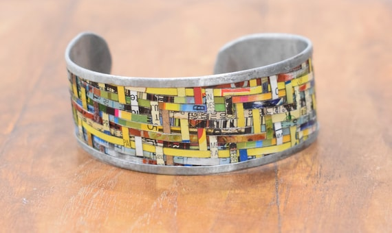 Bracelet Recycled Woven Tin Strip Medium Cuff Bracelet