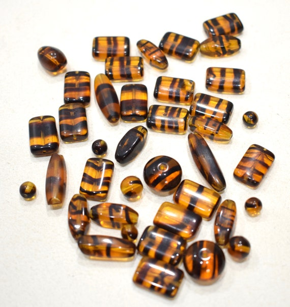 Beads Assorted Bag Tortoise Brown Glass Beads 6-16mm