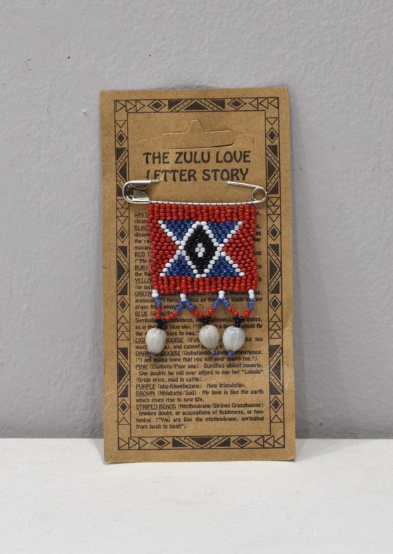 African Zulu Love Letter Beaded Pin 60mm