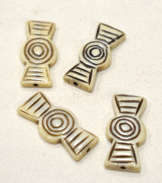 Beads Indonesian Etched Bone Bow Tie Beads 32mm