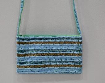 Purse Beaded Blue Bronze Shoulder Bag