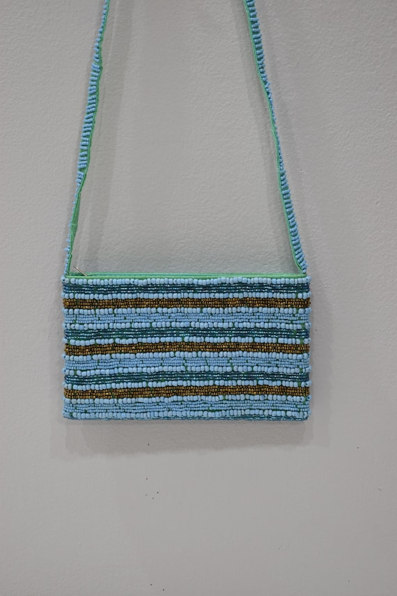 Purse Beaded Blue Bronze Shoulder Bag