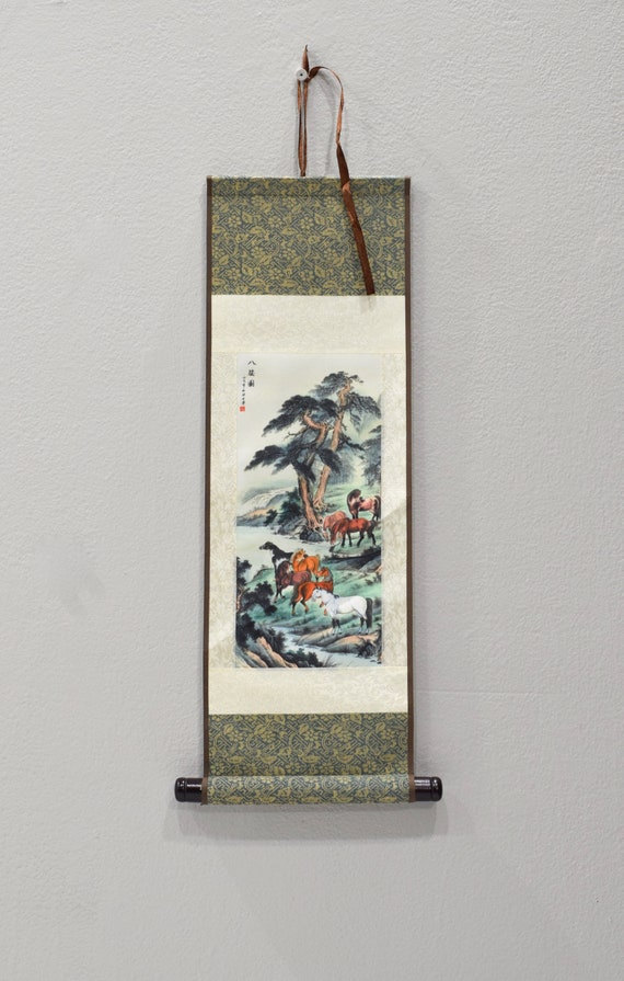 Scroll Chinese Brocade Painted Silk Horse Wall Hanging 17.5