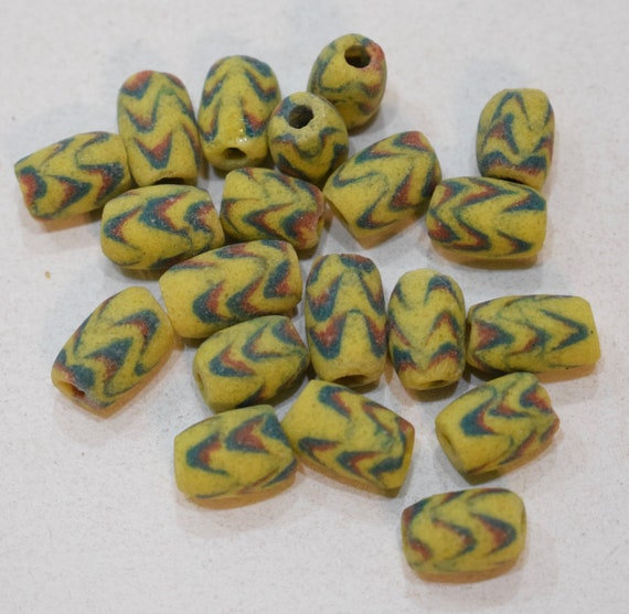 Beads African Sandcast Glass Yellow Zigzag Vintage 14mm - 18mm