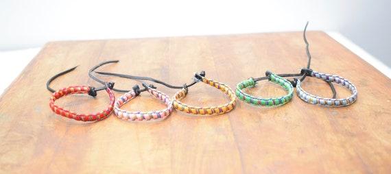Bracelet 5 Small Colorful Silk Woven Tie Bracelets