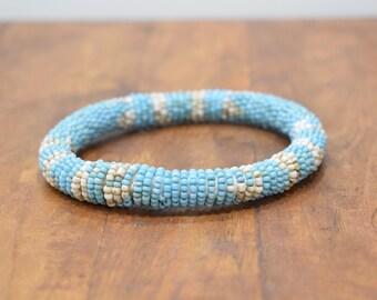 Bracelet Beaded Blue White Bead Bangle Bracelet