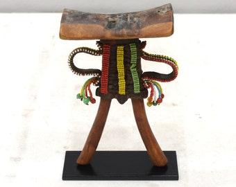 African Pokot Tribe Beaded Wood Headrest