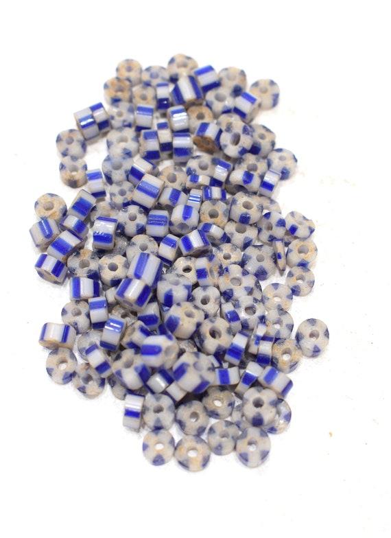 Beads African Blue White Chevron Glass 5-6mm