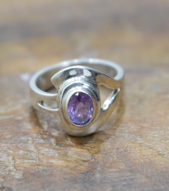 Ring Sterling Silver Amethyst Stone Ring