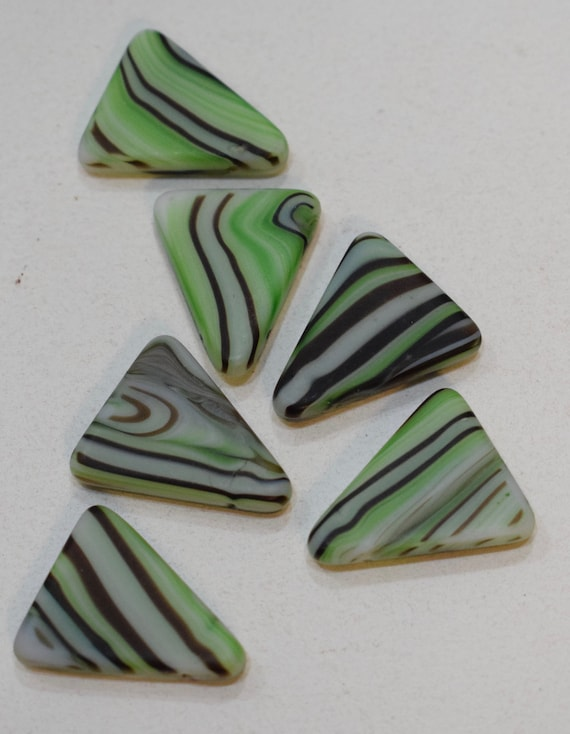 Beads African Wedding Glass Green Stripped Triangle  Beads 26mm