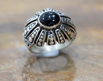 Ring Sterling Silver Black Onyx Dome Ring