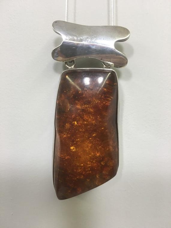Pendant Amber Baltic Sterling Silver Pendant