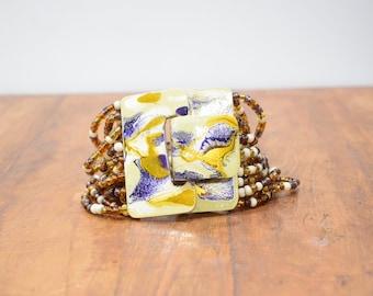 Bracelet Gold Hand Painted Buckle Clasp Bracelet