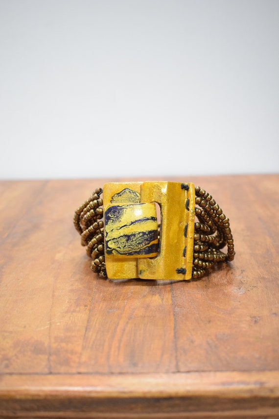 Bracelet Beaded Bronze Hand Painted Buckle Clasp Bracelet