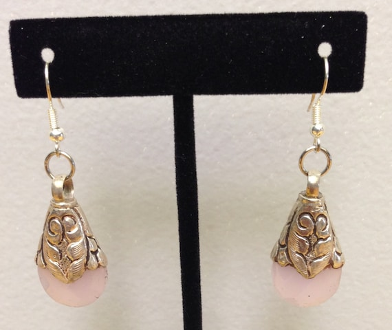 Tibetan Earrings Silver Handmade Handcrafted Pink Rose Quartz Dangle Etched Silver Teardrop Gift for Her Jewelry Earrings Birthday