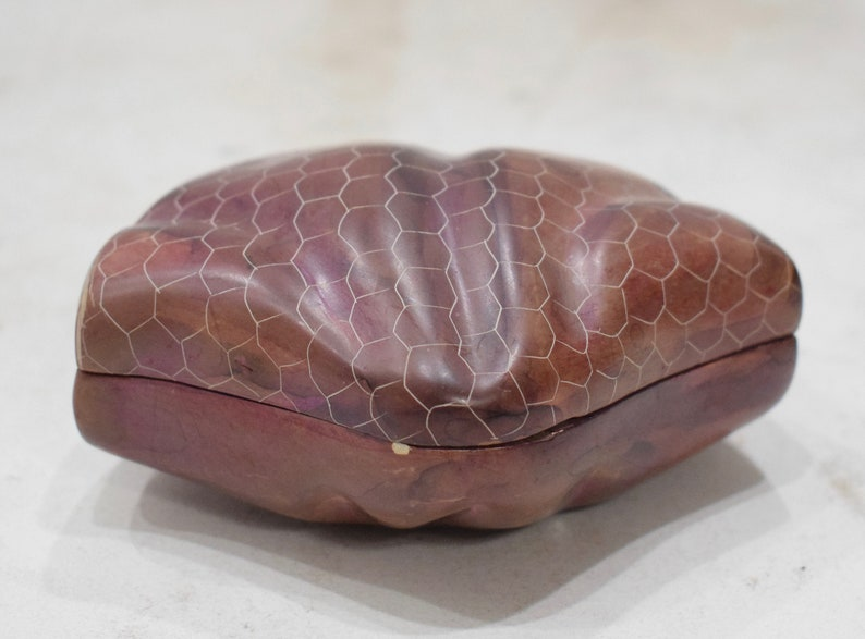 Shell Clam Box Soapstone Carved Design Hand Painted Clam Box Kenya