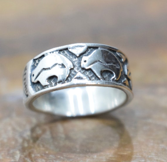 Ring Sterling Silver Etched Buffalo Band Ring