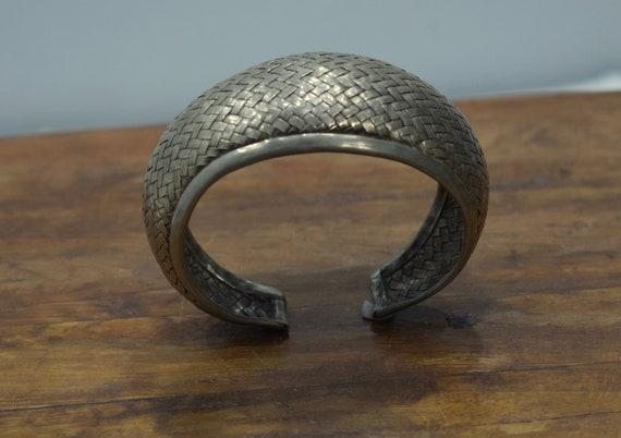 Bracelet Silver Woven Cuff Miao Hill Tribe
