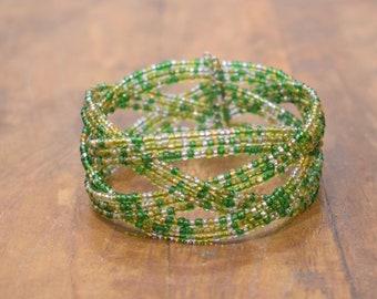 Bracelet Beaded Iridescent Green Yellow Wire Cuff Bracelet