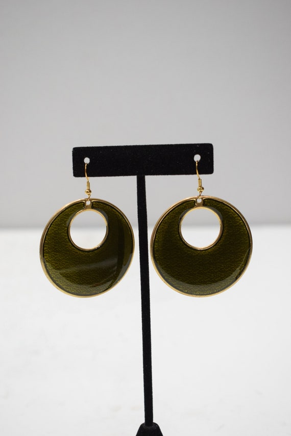 Earrings Painted Green Brass Earrings