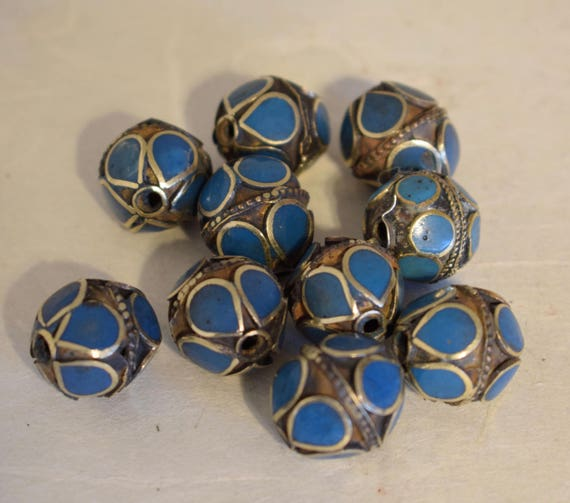 Beads Middle Eastern Turquoise Brass Oval Beads Handmade Handcrafted 5 Lot Blue Beads Brass Crafts Jewelry Beads