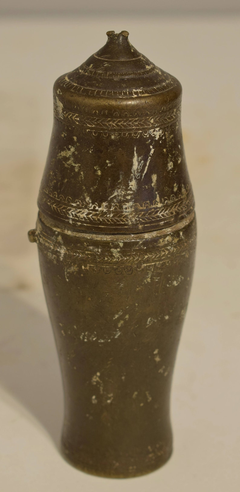 Cambodia Khmer Old Bronze Lime Container Betel Nut Chewing Khmer Lime  Container