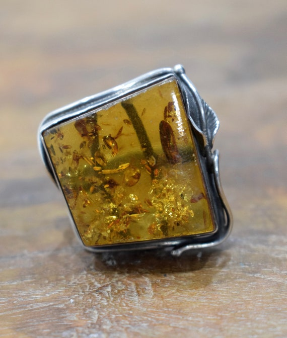 Ring Sterling Silver Baltic Amber Square Stone Ring