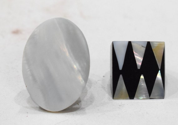 Ring 2 Black Horn Inlaid Mother of Pearl Ring Indonesia