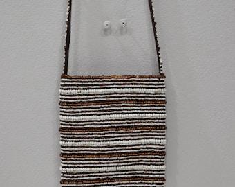 Purse Beaded Bronze White Stripe Shoulder Bag