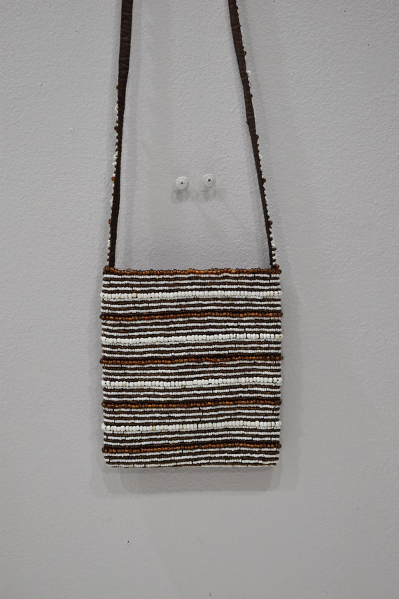 Purse Beaded Bronze White Stripe Shoulder Bag
